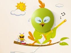 Crazy Bird Wall Sticker Lamp
