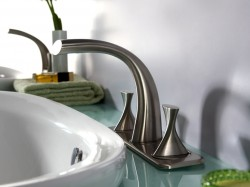 Two Handles 3-hole Basin Mixer(PVD Brushed Nickle)