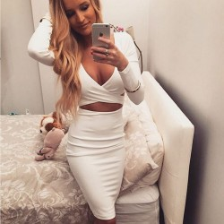 Womens Sexy Cutout Waist V Neck Long Sleeves Stretch Club Dress [B-03] – $18.00 : Cheap Ba ...