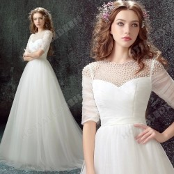A-Line Luxury Pearl Lace Sweetheart Long-sleeved Bride Wedding Dress 2016 New – Wedding Dr ...