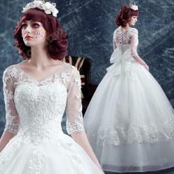 Deep V-neck Ball Gown Lace Long-sleeved Floor-Length Wedding Dress 2016 New – Wedding Dresses