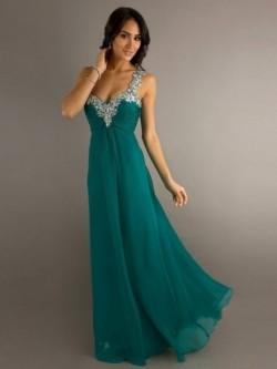 Princess-Linie Günstige Bateau-Ausschnitt Bodenlang Chiffon Abendkleid Ballkleid – VickyDress