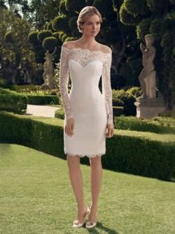 Spetsar Knälång Bröllopsklänningar