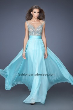 LF19694 Cap Sleeves Sheer Open Back Beaded Prom Gown – Dresses Online Shop | Prom and Home ...