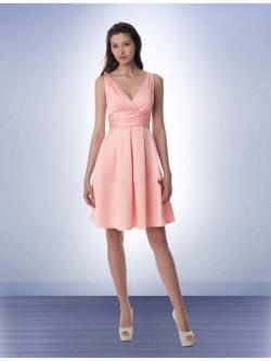 US$127.99 2015 Chiffon Ruched Pink Sleeveless V-neck Short Length
