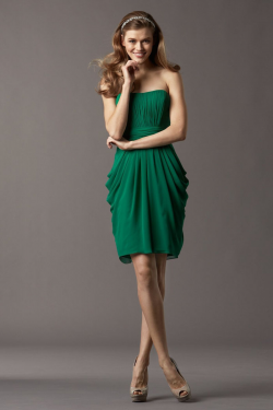US$139.99 Green Strapless Chiffon Sleeveless Ruched Knee Length