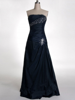 US$178.99 2015 Lace Up Strapless Beading Satin Ruched Floor Length