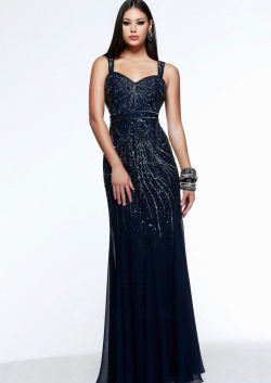 US$155.99 2015 Straps Beading Open Back Ruched Navy Blue Floor Length Mermaid