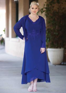 US$165.99 2015 V-neck Appliques Blue Jacket Sleeveless Chiffon Tea Length Ruched