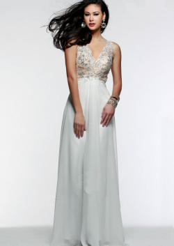 US$142.99 2015 V-neck Open Back Appliques Beading Ruched Ivory Lilac Chiffon Floor Length