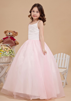 US$105.99 2015 Zipper Tulle Appliques Pink Floor Length Spaghetti Straps Sleeveless