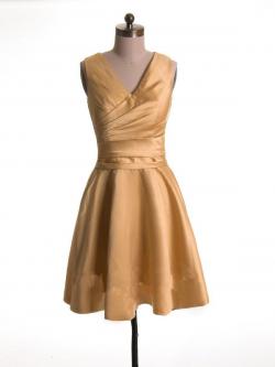 US$168.99 2015 Zipper V-neck Ruched Satin Sleeveless Yellow Short Length