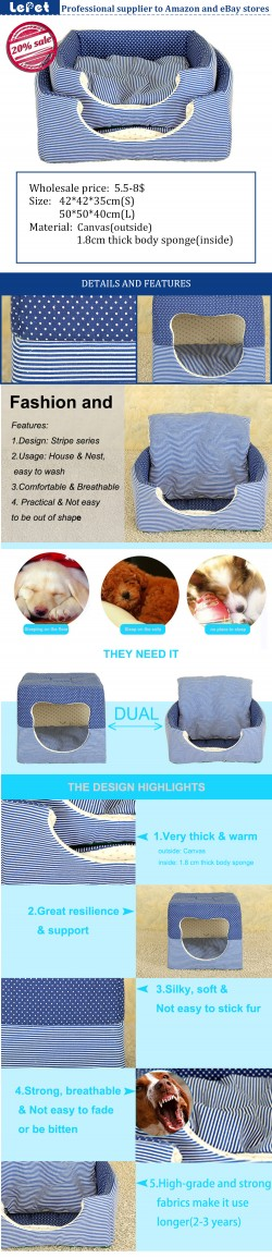Double-use cozy pet bed dog house cave dog bed