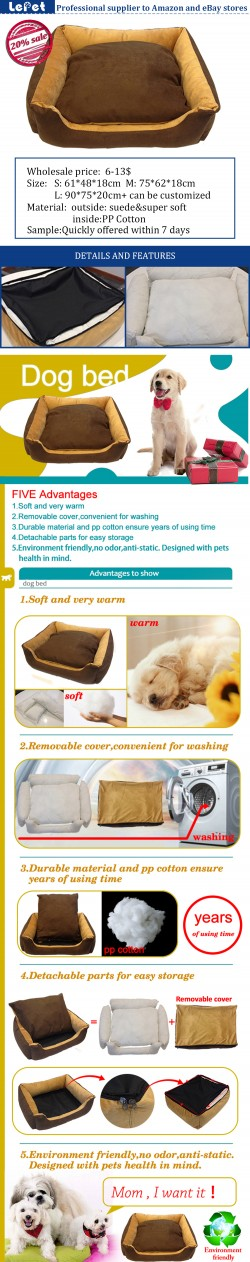 Washable cozy dog bed/soft warm pet dog bed removable cover manufacturer wholesale