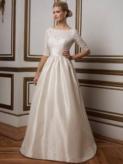 half sleeves illusion backless lace satin wedding dress