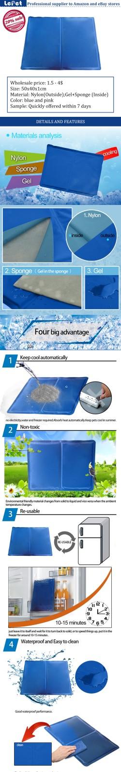 manufacturer wholesale re-usable gel+sponge dog cooling mat cool gel pad