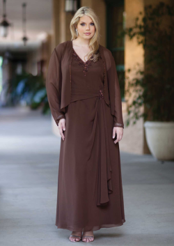 US$161.99 2015 Brown Ruched Jacket Sleeveless Chiffon V-neck Floor Length