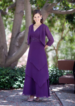 US$165.99 2015 Ruched Purple Tiers Sleeveless Chiffon V-neck Floor Length