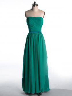 US$168.99 2015 Strapless Zipper Green Chiffon Sleeveless Ruched Floor Length