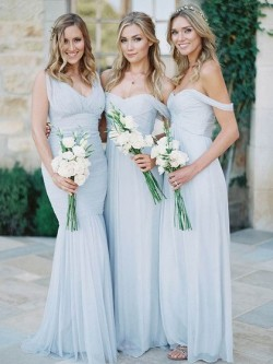 A-line Tulle Ruffles Silver Off-the-shoulder Bridesmaid Dresses in UK