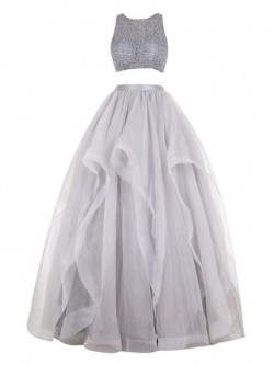 Ball Gown Scoop Neck Organza Floor-length with Beading Two Piece Prom Dresses in UK
