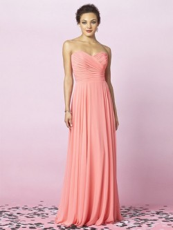 Sweetheart Pink Chiffon Ruffles Floor-length Affordable Bridesmaid Dress in UK