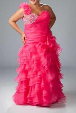 US$167.99 2015 One Shoulder Fuchsia Crystals Tiers Chiffon Floor Length Sleeveless Lace Up A-lin ...