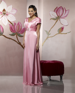US$147.99 2015 Satin V-neck Pink Floor Length Short Sleeves