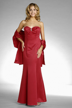 US$165.99 2015 Sweetheart Red Shawl Sleeveless Ruched Floor Length Mermaid