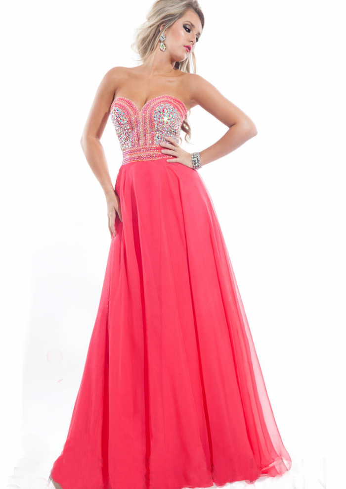 US$159.99 2015 White Sweetheart Floor Length Watermelon Sleeveless Ruched Crystals Chiffon