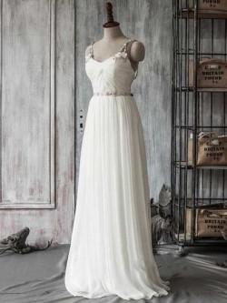 A-line Sweetheart Chiffon Tulle Sweep Train Beading Wedding Dresses in UK