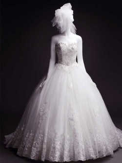 Ball Gown White Court Train Tulle with Appliques Lace Lace-up Wedding Dress in UK