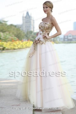 High End Pink Tulle Strapless Prom Dress With Sequined Appliques – Sposadress.com