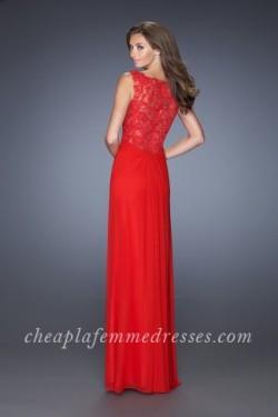 Long Front Slit Red Long V-neck Prom Dresses by La Femme 20142 [La Femme 20142] – $195.00  ...