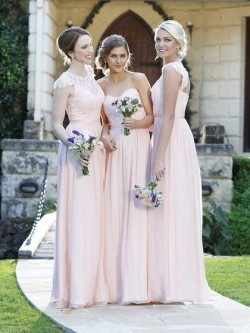 Scoop Neck Pink Lace Chiffon Floor-length Fashion Bridesmaid Dress in UK
