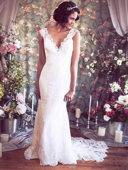 Trumpet/Mermaid V-neck Lace Court Train Flower(s) Wedding Dresses in UK