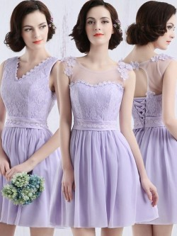 Scoop Neck Lavender Chiffon Tulle Appliques Lace Short/Mini Bridesmaid Dress in UK