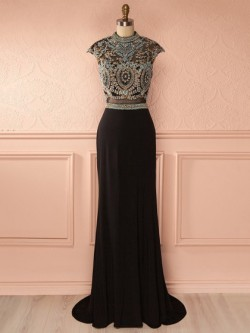 Sheath/Column High Neck Chiffon Tulle Sweep Train Beading Black Open Back Prom Dress in UK