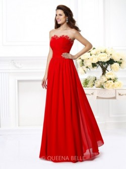 A-Line/Princess Sweetheart Sleeveless Beading Floor-Length Chiffon Dresses – Prom Dresses  ...