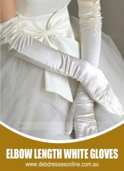 Elbow Length White Gloves