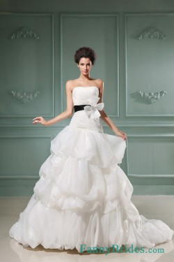 A-line Strapless Court Train Organza Wedding Dress With Sash -Fannybrides.com