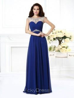 A-Linie/Princess-Linie Bateau-Ausschnitt Ärmellos Perlen verziert Bodenlang Chiffon Kleid &#8211 ...