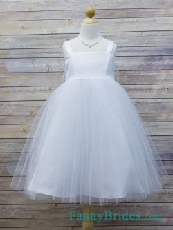 Ball Gown Straps Floor Length First Communion Dress With Tulle -Fannybrides.com