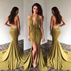 Halter Appliques Sexy Side-Slit Deep-V-Neck Backless Prom Dresses_Prom Dresses 2017_Prom Dresses ...