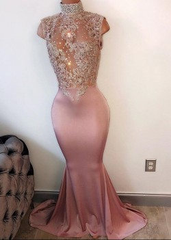 Lace-Appliques Modest High-Neck Sleeveless Pearls Mermaid Prom Dress BA4598_Prom Dresses 2017_Pr ...
