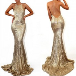 Sequined Sweep-Train Sleeveless Stunning Mermaid Halter Prom Dress_Prom Dresses 2017_Prom Dresse ...