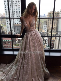 Shiny Long Deep-V-Neck Backless A-line Prom Dresses_Prom Dresses 2017_Prom Dresses_Special Occas ...