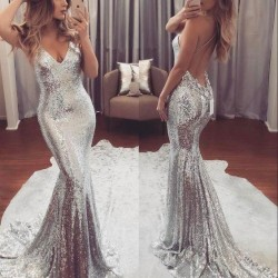 Backless Sequins V-Neck Gorgeous Mermaid Prom Dress_Prom Dresses 2017_Prom Dresses_Special Occas ...