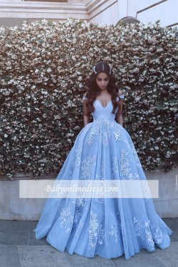 Lace Baby-Blue Elegant Off-the-shoulder Floor-Length Evening Dress_Evening Dresses 2017_Evening  ...