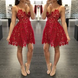 Sexy A-Line Red Lace Homecoming Dresses 2017 Spaghetti Straps Party Gowns_Homecoming Dresses_Spe ...